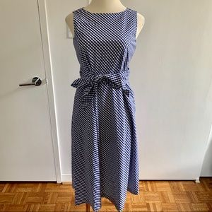 Anne Klein | Sleeveless Navy Gingham Dress